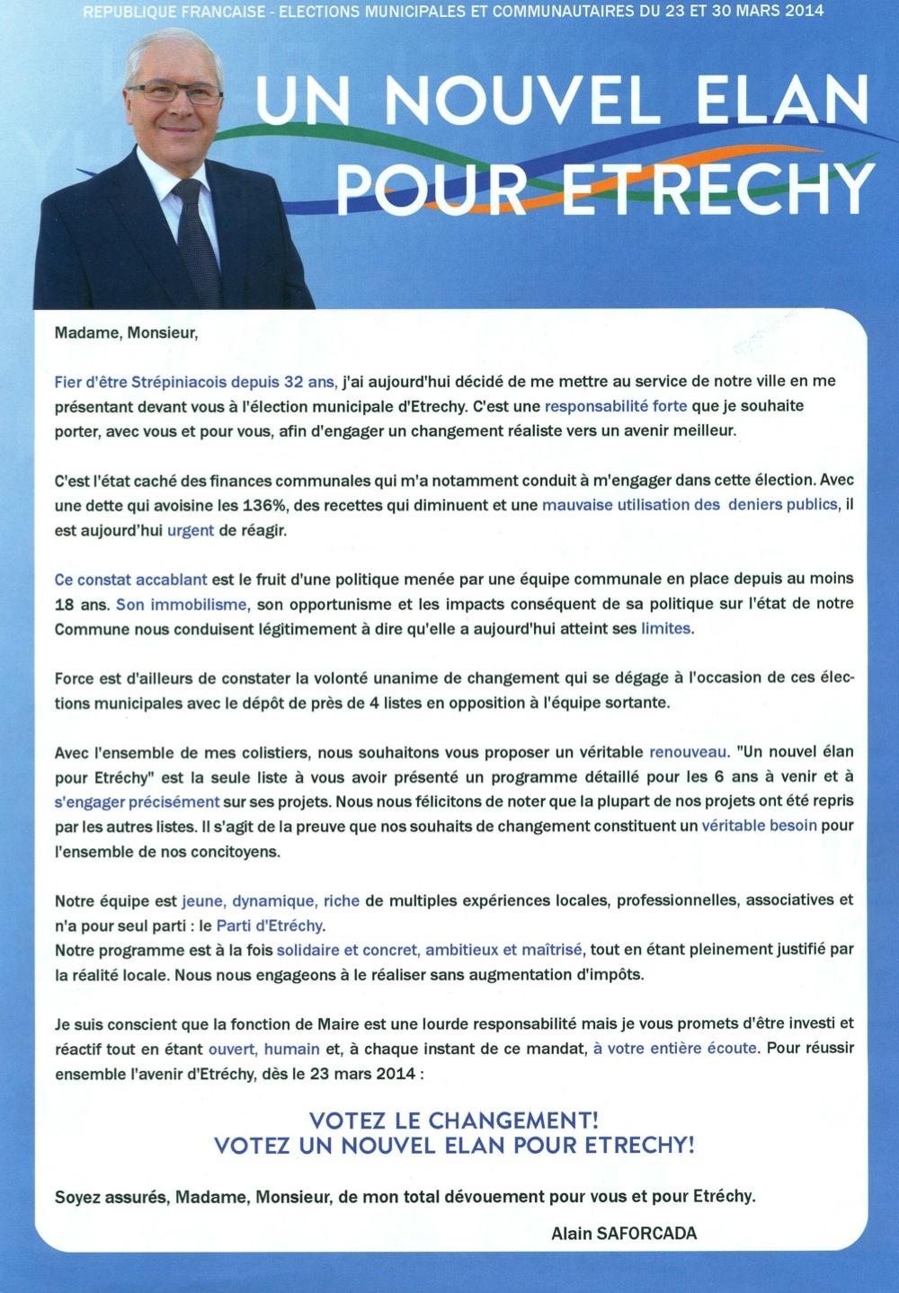 2014 Election A Etrechy 1er Tour Profession De Foi Etrechy